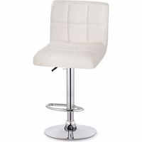 2x Grid Gas Lift PU Leather Bar Stool in White