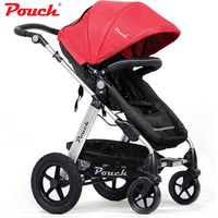Pouch 2-in-1 Baby Pram Stroller Bassinet Red Black