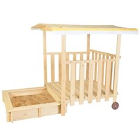 Kid's Sandbox Playhouse Deck on Wheels with Canopy