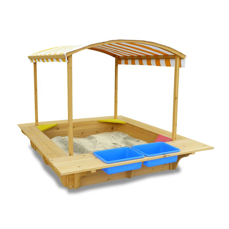Kids wooden sandbox sandpit with canopy and seats buy for 10 in 1 games table australia