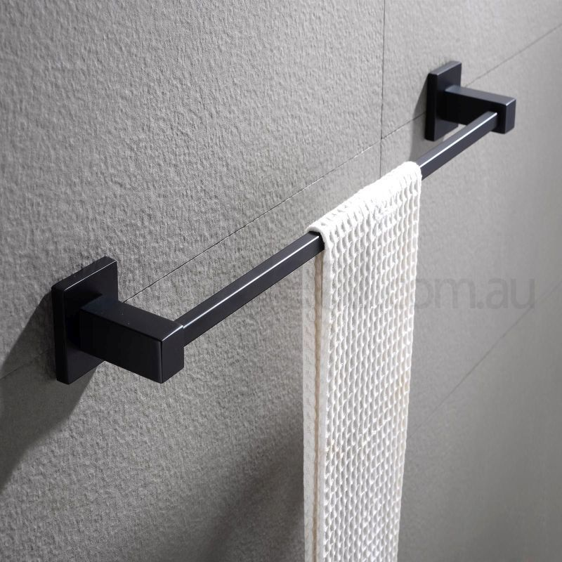 Bathroom Square Single Towel Rack Rail Black 600mm Buy