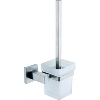 Square Glass & Steel Toilet Brush Holder w/ Brush
