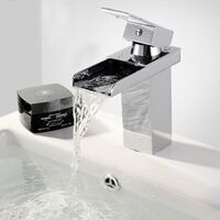 Waterfall Basin Mixer Tap Polished Chrome Square