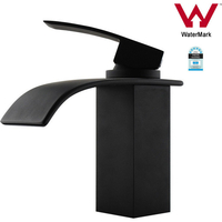 Waterfall Basin Mixer Tap Matte Black Brass Square