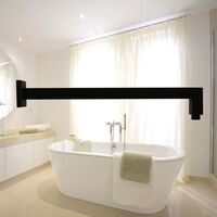 Matte Black Shower Arm 400mm Wall Mounted Square