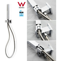 Square Chrome Handheld Shower Head w/ Holder & Hose