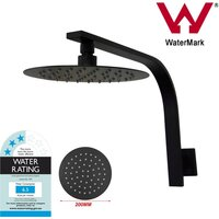 Thin Round Gooseneck Shower Head Arm Set Black 8in