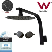 Black 8in Shower Head, Taps & Gooseneck Arm Set