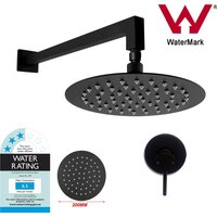 Black 8in Shower Head, Mixer Tap & Square Arm Set