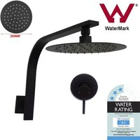 Black Shower Head, Mixer Tap & Gooseneck Arm Set