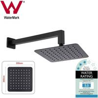 Black 8in Square Shower Head & 400mm Wall Mount Arm