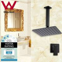 Black 8in Square Shower Head & 200mm Ceiling Arm