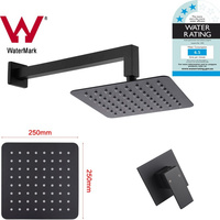 10in Black Shower Head, Square Arm & Mixer Tap Set