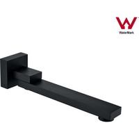 Square 180 Degree Swivel Bath Spout in Black 259mm