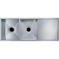 Double Stainless Steel Sink w Drainboard 1160x460mm