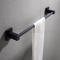 Bathroom Square Single Towel Rack Rail Black 600mm