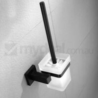 Wall Mounted Toilet Brush Holder w/ Brush in Black