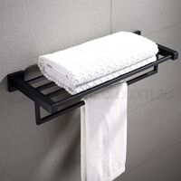 Bathroom Towel Shelf Rack w/ 5 Rails in Black 600mm