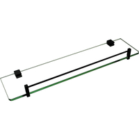 Bathroom Glass & Steel Storage Shelf in Black 500mm