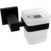 Corner Bathroom Glass Steel Toothbrush Holder Black