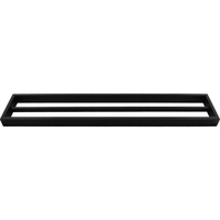 Square Double Bar Towel Rail Rack in Black 600mm