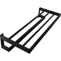 Bathroom 5 Rail Towel Rack & Shelf in Black 600mm