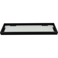 Bathroom Glass Steel Storage Shelf Matte Black 52cm