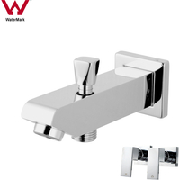 Bathroom Square Spout w/ Diverter & 2 Taps Chrome