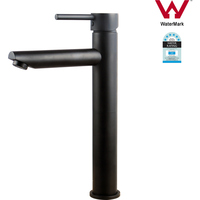 Tall Bathroom Round Basin Mixer Tap in Matte Black