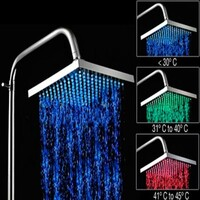LED Square Water Saving Shower Head Chrome 8in