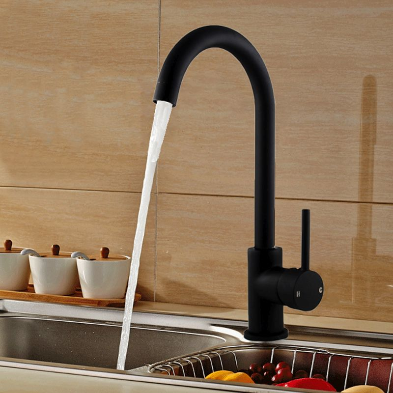 Kitchen Laundry Gooseneck Mixer Tap In Black 350mm Buy