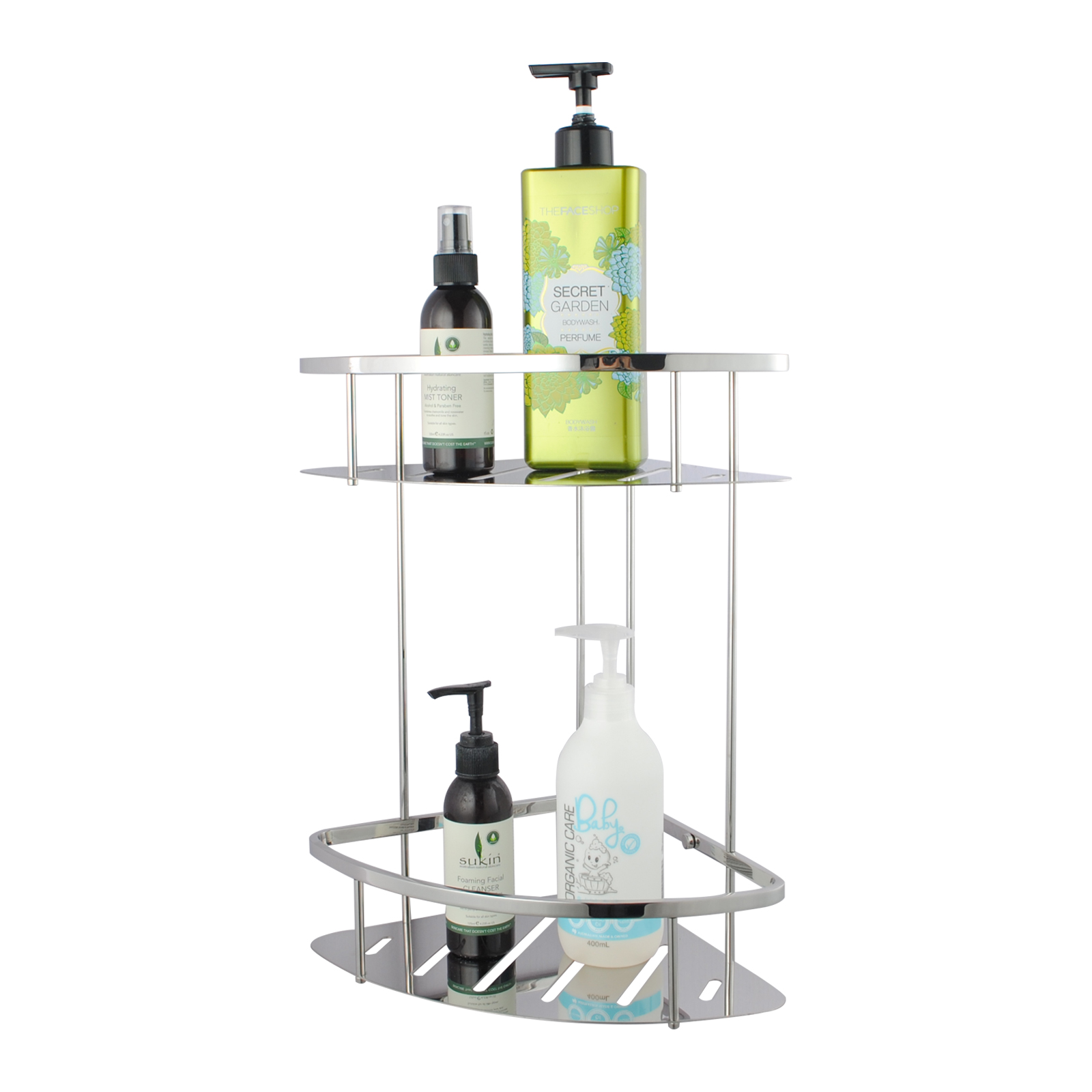 Chrome Stainless Steel 2 Tier Shower Caddy Shelf | Buy Shower & Bath ...