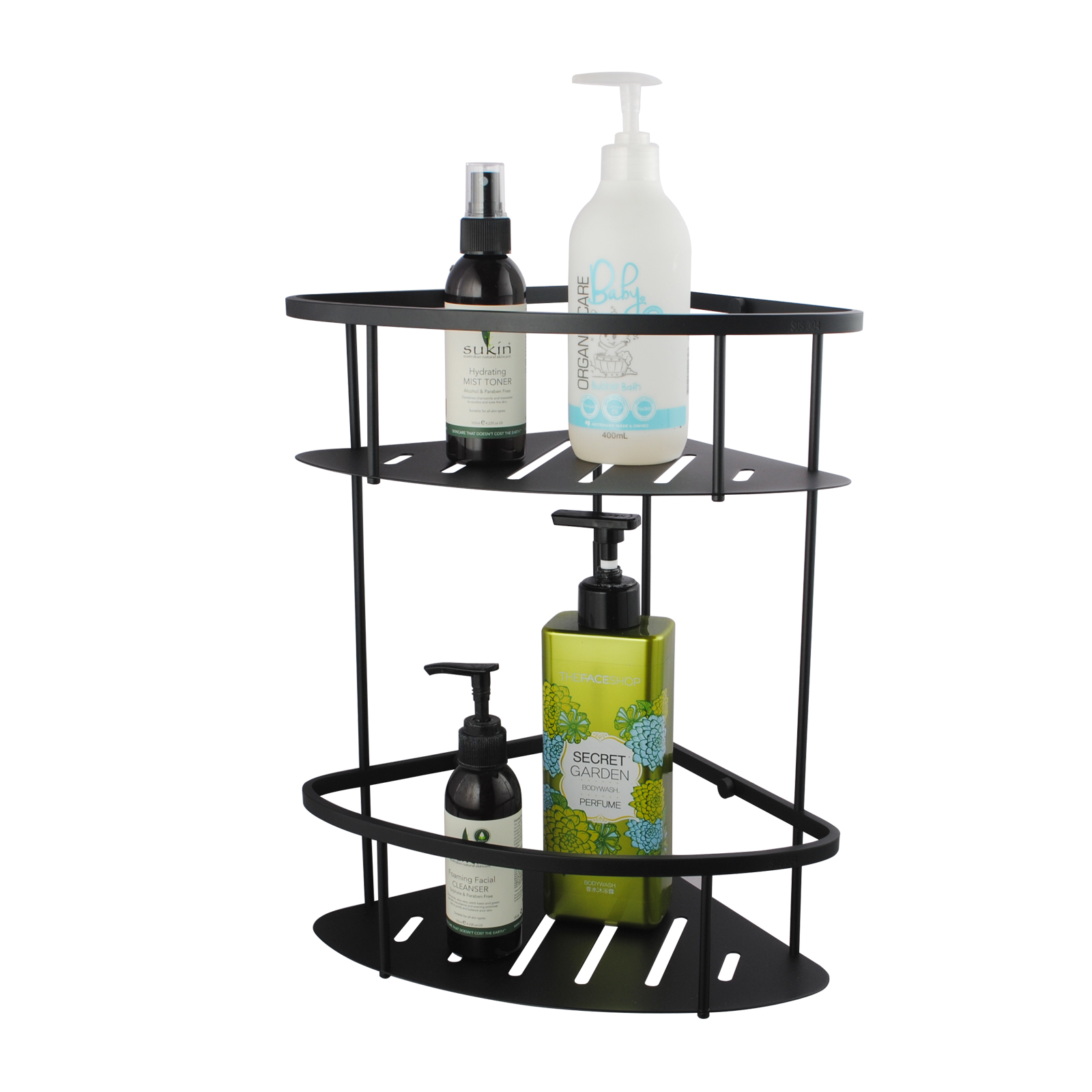 Matte Black Stainless Steel 2 Tier Shower Caddy Shelf | Buy Shower ...
