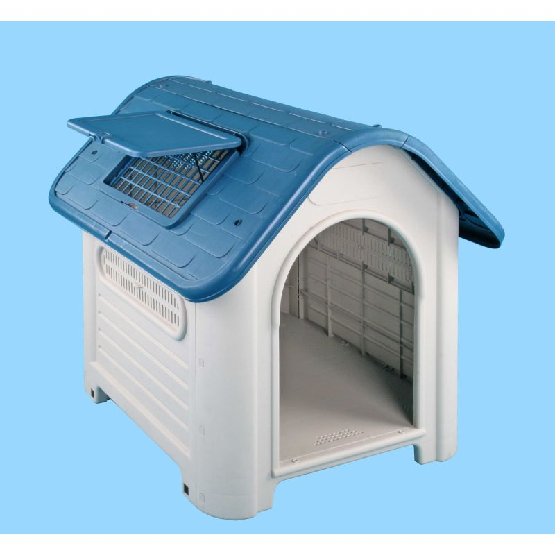 Weather resistant plastic dog house w roof flap buy dog for Hard plastic dog house