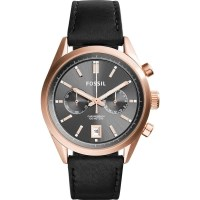 Fossil Del Rey Mens Watch Rose Gold & Black Leather