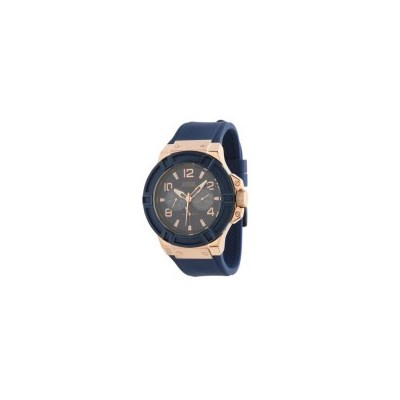 Guess Mens Watch Rigor Rose Gold Blue Strap