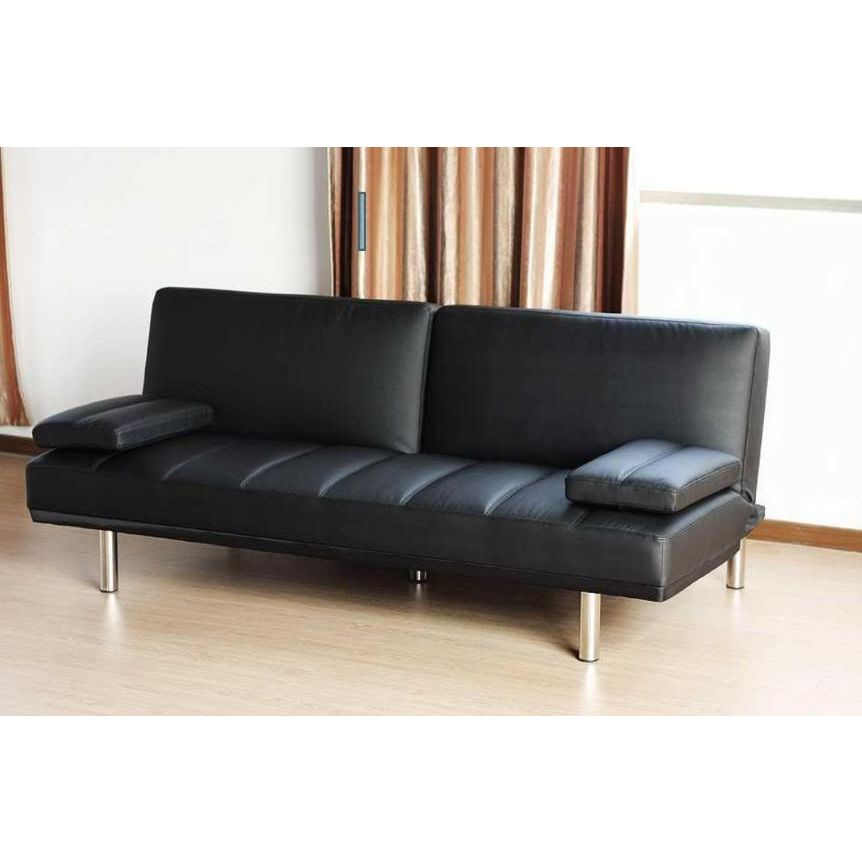 Pu leather click clack sofa bed couch in black buy sofa beds for Buy leather sectional sofa bed