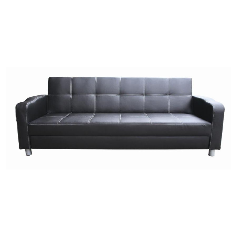 classic 3 seat pu leather sofa bed couch in black | buy sofa beds