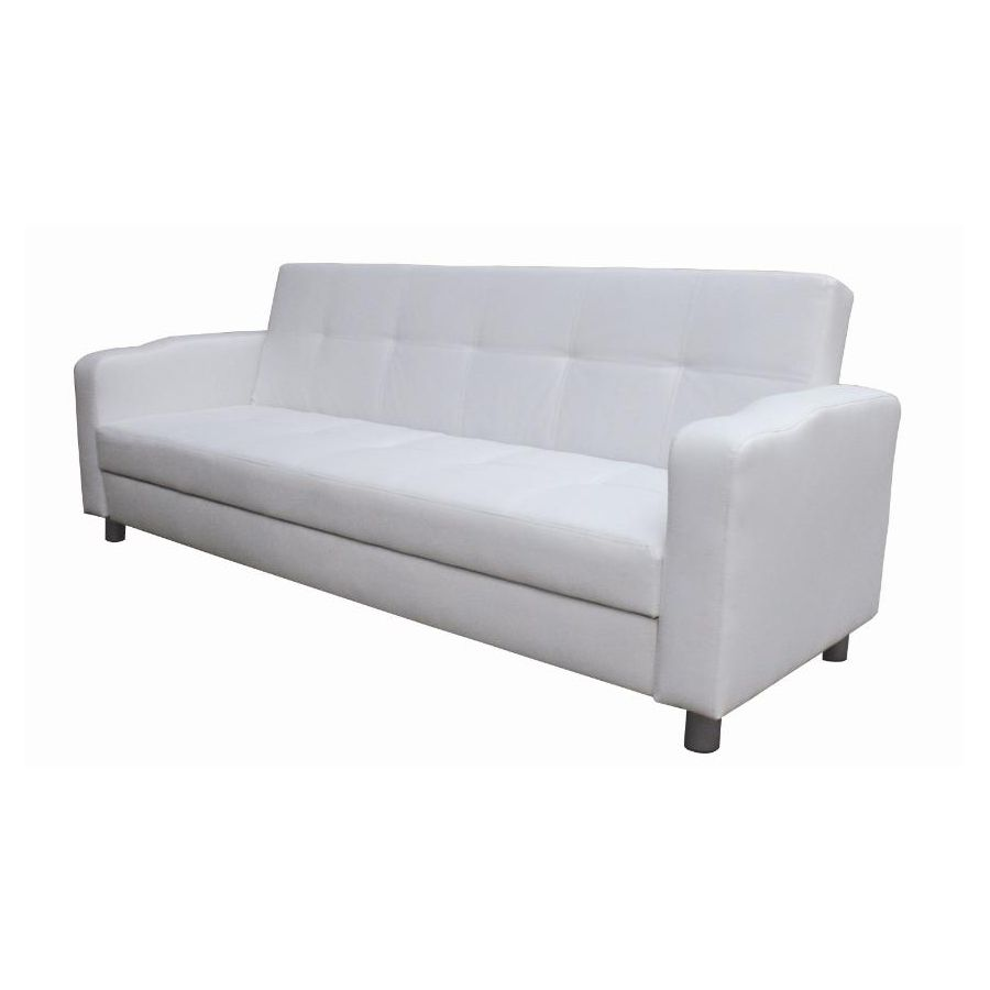 3 seater pull out westminster futon sofa bed white pu leather buy sofa beds 179888. Black Bedroom Furniture Sets. Home Design Ideas