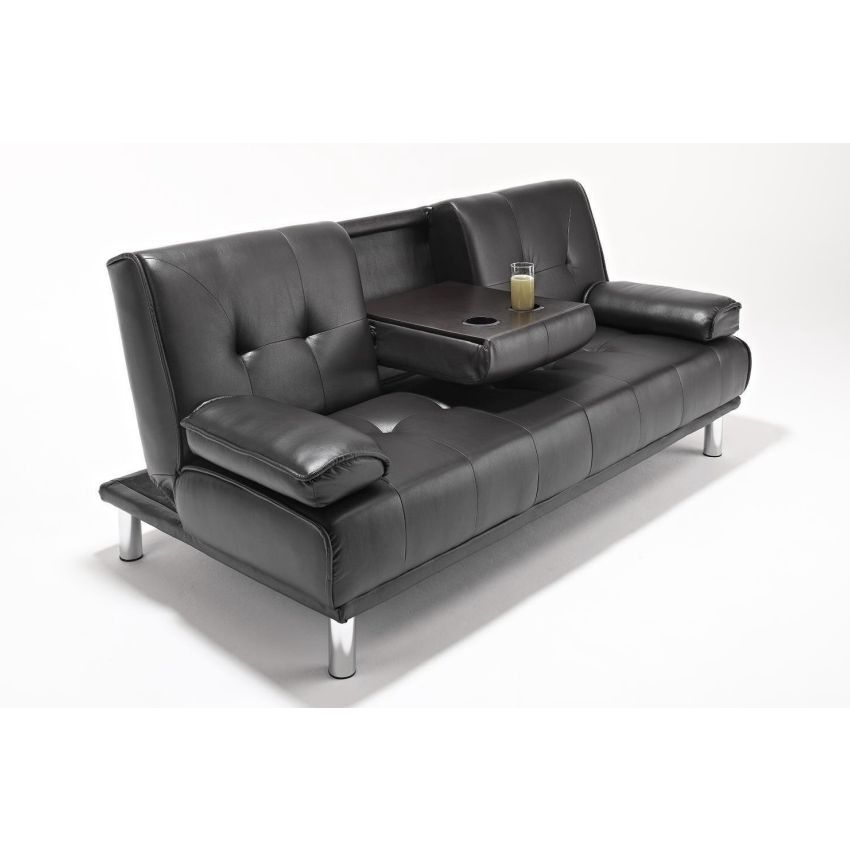 3 seat faux leather tufted futon sofa bed in black buy for Tufted leather sleeper sofa
