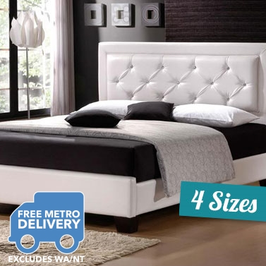 Pu Leather Studded Bed Frame In 4 Sizes White Buy Bed