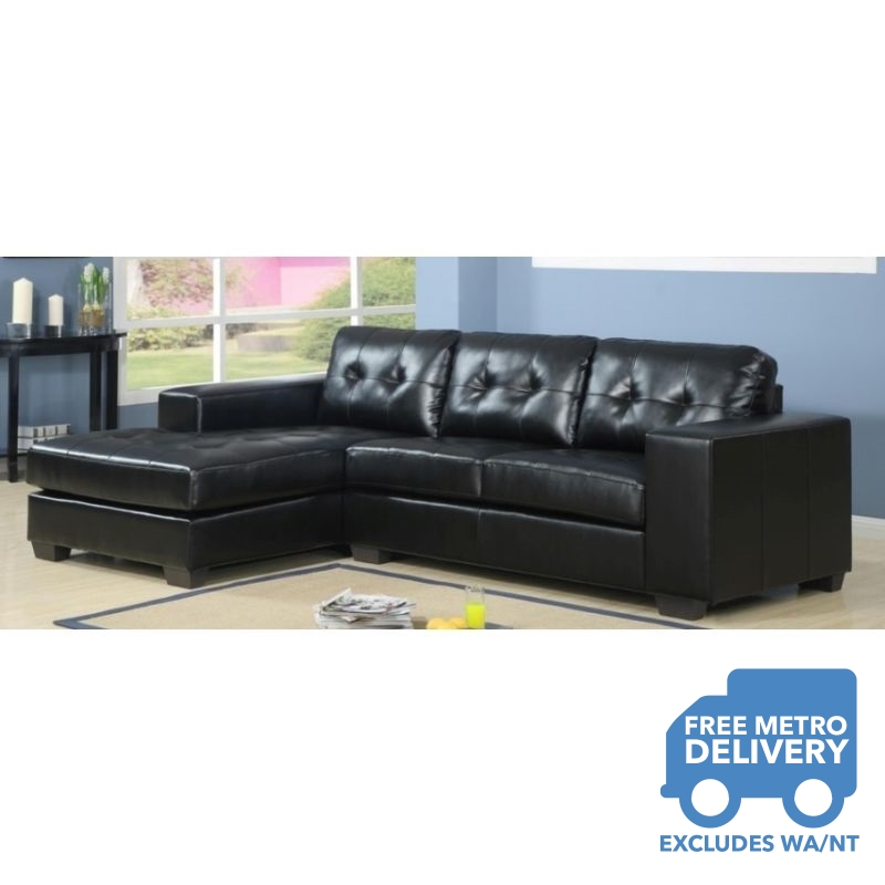 Byron 3 Seat Black Leather Couch with Chaise Lounge