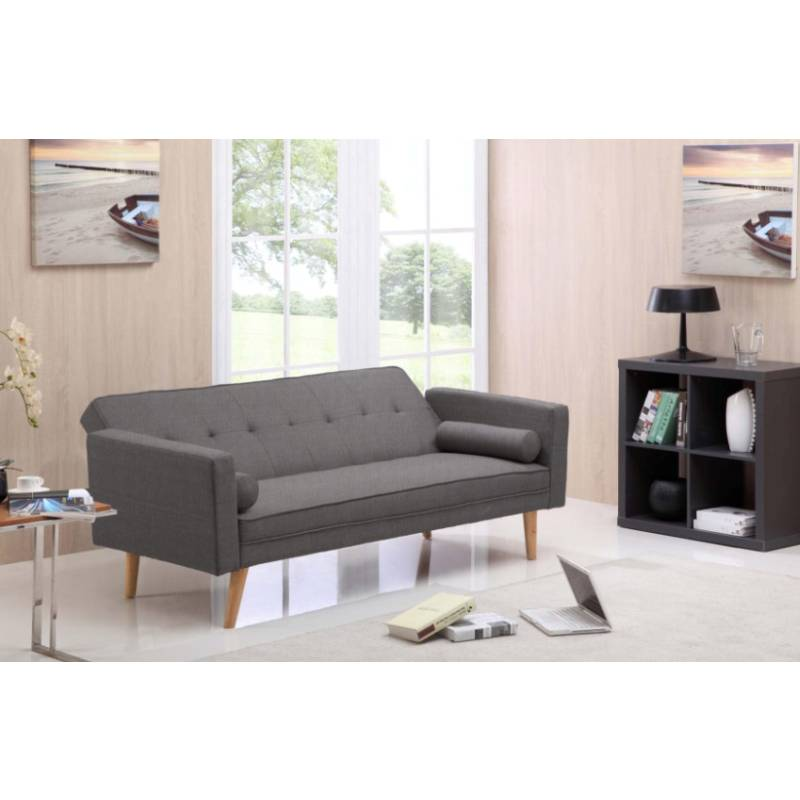 Grey futon sofa bed couch in hopsack fabric buy fabric sofas for Buy futon mattress melbourne