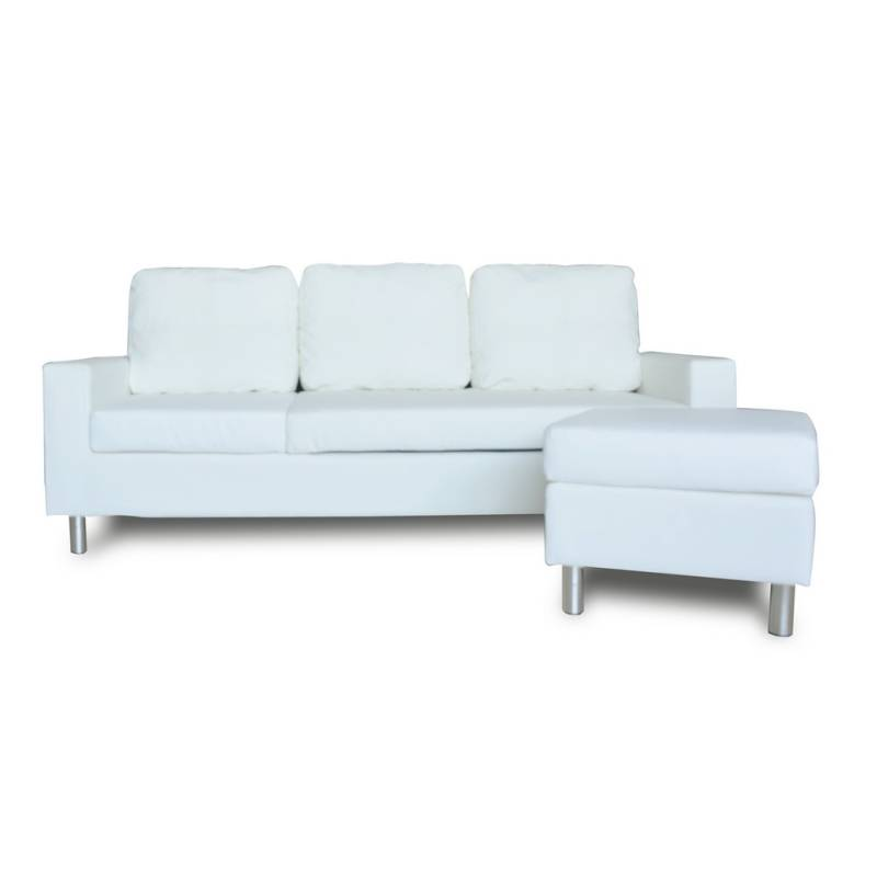 Pu leather 3 seat sofa w chaise or ottoman white buy sofas for 3 seater couch with chaise