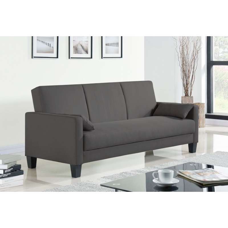 Modern 3 Seater Westminster Sofa Bed Futon In Dark Grey