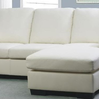 White bonded leather sofa couch with chaise lounge buy sofas for Bonded leather sectional sofa with chaise