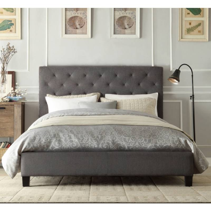 chester king padded linen fabric bed frame in grey