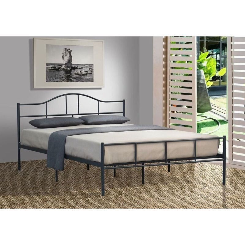 jovy king size metal bed frame in dark grey - Kingsize Bed Frame