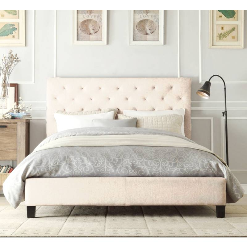 Windsor queen bed frame in light beige white fabric buy - Cool queen bed frames ...