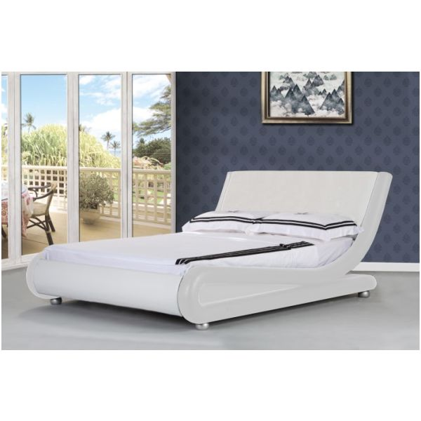 Orkney Queen PU Leather Bed Frame in White | Buy Queen Bed Frame ...